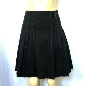 Ted Baker Skirt Black A Line Flare Button XS 1